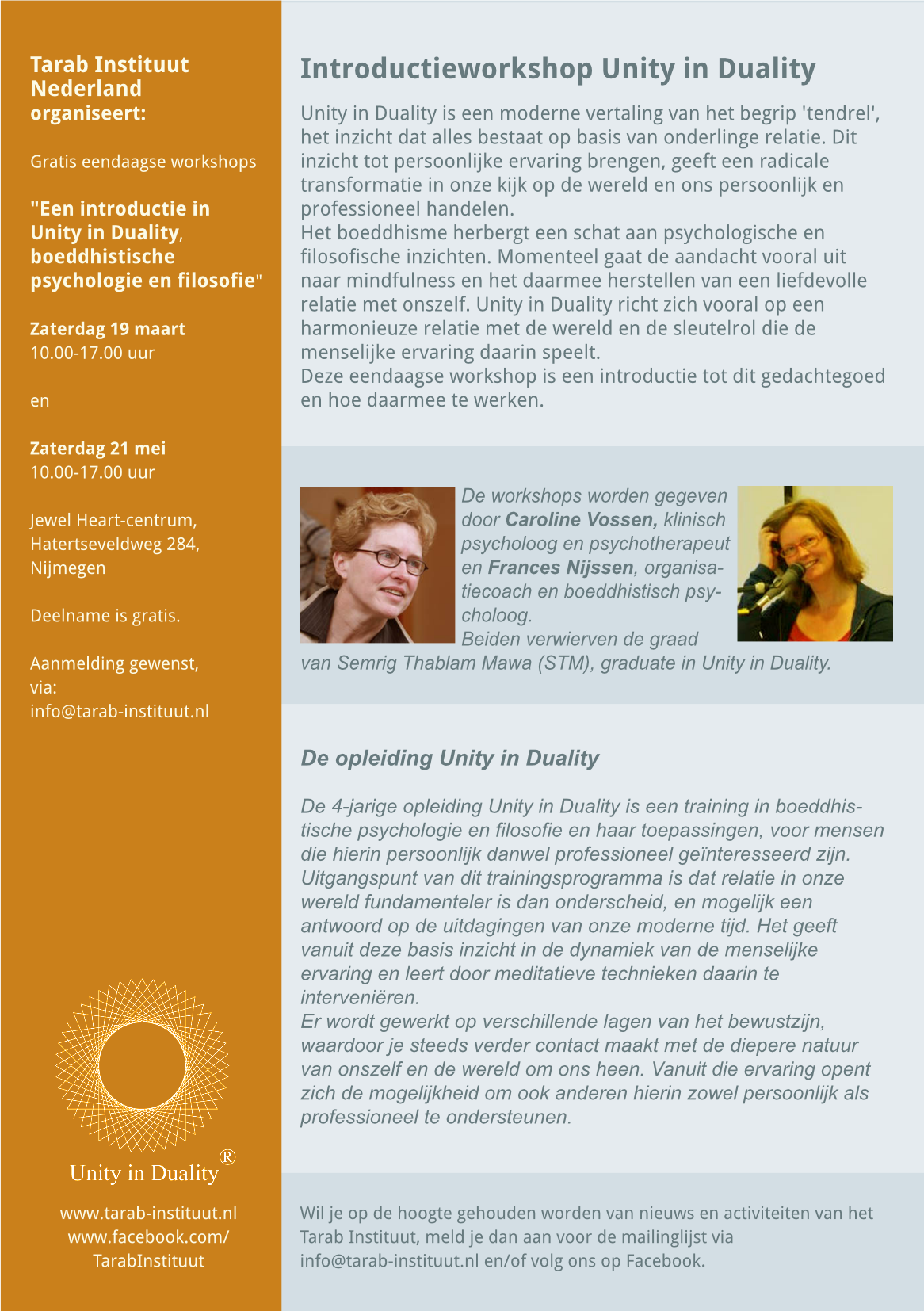 Flyer  Introductieworkshop 19 maart 21 mei 2016